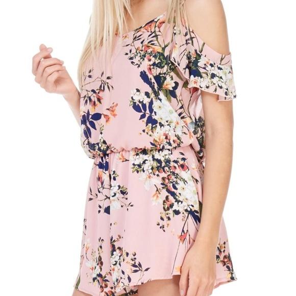 Peppermint Dresses & Skirts - Peppermint Floral Cold Shoulder Romper